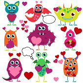 stock photo of love bite  - Bright Vector Set of Cute Love Monsters - JPG