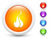 Fire Icons on Round Button Collection Original Illustration