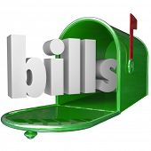The word Bills in a green metal mailbox to illustrate your debt such as credit card and utilities payments, mortgage and other amounts of money you owe