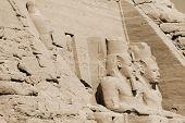 stock photo of nubian  - The Abu Simbel temples are two massive rock temples in Abu Simbel in Nubia - JPG