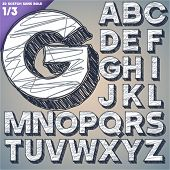 Sketch alphabet. Vector illustration of hand drawing font. Sans uppercase letters