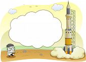 Background Illustration of Scientist Launching a Rocketship with Cloud Frame