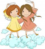 pic of cherubim  - Illustration of Angel Sisters Holding Their Halo - JPG