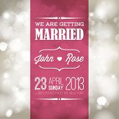 Vector retro Typography Wedding invitation with lights