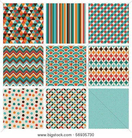 Seamless geometric hipster background set. Retro Vintage Seamless Patterns. Vector Illustration poster