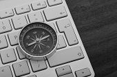 Keyboard With Compass Black And White