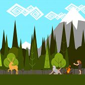primitive hunting in the woods flat style vector