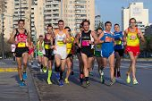 VALENCIA, SPAIN - JANUARY 12: Runners compete in the 10K Divina Pastora Valencia on January 12, 2014