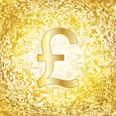 Gold background with British pound sterling symbol