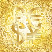 Shining gold background with money symbols