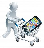 Person Pushing a Cart With Mobile Phone