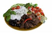 meal with tzatziki, kebab and salad