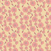 Vector seamless pattern with mallow flowers