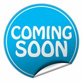 Coming Soon Round Blue Sticker On White Background