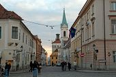 ZAGREB, CROATIA - JANUARY 12, 2014: Cirilometodska street that leads to famous St Mark's Church and