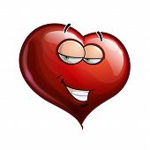 picture of flirtatious  - Cartoon Illustration of a Heart Face Emoticon Flirting - JPG