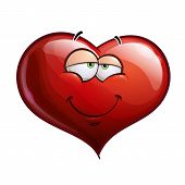stock photo of flirtatious  - Cartoon Illustration of a Heart Face Emoticon in love - JPG