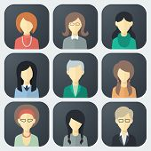 image of avatar  - Colorful Female Faces App Icons Set in Trendy Flat Style - JPG