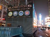 NEW YORK - JANUARY 9: The US Armed Forces Recruitment Building is shown in Times Square on January 9, 2014 in New York City.