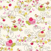 Holiday seamless pattern with macaroon, berries, flower, birds and butterflies.