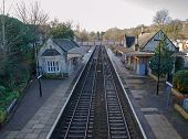 stock photo of avon  - View of Bradford on Avon Railway station - JPG
