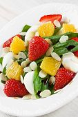 Spinach Strawberry Orange And Quail Eggs Salad With Almonds Slices