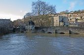 Town bridge, Bradford on Avon during a flood