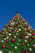 Christmas tree against a blue sky