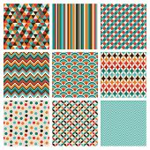 stock photo of tribal  - Seamless geometric hipster background set - JPG