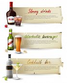 3 retro banners with alcoholic drinks