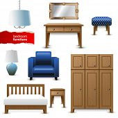 Highly detailed bedroom furniture icons