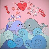 Lovers whales on a card for Valentine's day