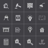 Vector black  rea estatel icons set