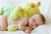 Little baby boy, sleeping with teddy bear