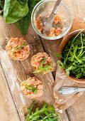 Sandwiches With Salmon Pate And Arugula