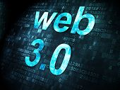 SEO web design concept: Web 3.0 on digital background