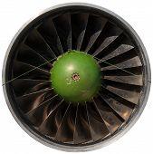 Closeup of a dark jet engine