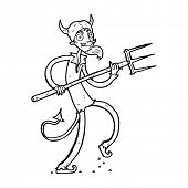 stock photo of lucifer  - cartoon devil with pitchfork - JPG