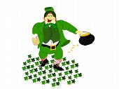 stock photo of fourleaf  - irish leprechaun dressed in green vested suit holding a beer in hand and pot of gold in the other - JPG