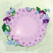 image of forget me not  - Birthday Valentines Day or Wedding card with pansy and forget - JPG