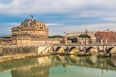 Sant Angelo Castle And Bridge In Rome, Italia.