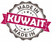 Made In Kuwait Pink Grunge Seal Isolated On White Background