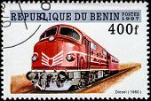 BENIN - CIRCA 1997: A stamp printed in Benin showing diesel train , circa 1997