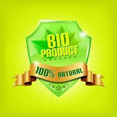 Glossy green shield and golden ribbon - BIO PRODUCT