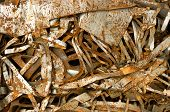 stock photo of ferrous metal  - Pieces of ferrous and rusted recycling scrap metal - JPG