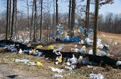stock photo of landfills  - Plastic bags in the landscape found near a landfill in the US - JPG
