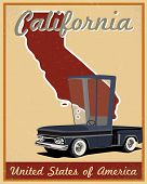 California road trip vintage poster