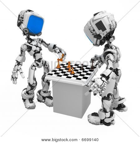 poster of Blue Screen Robot, Chess Players