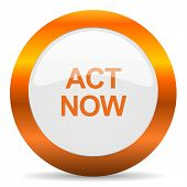 act now computer icon on white background