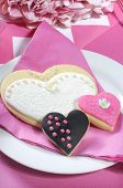 Pink wedding party bride and groom cookies